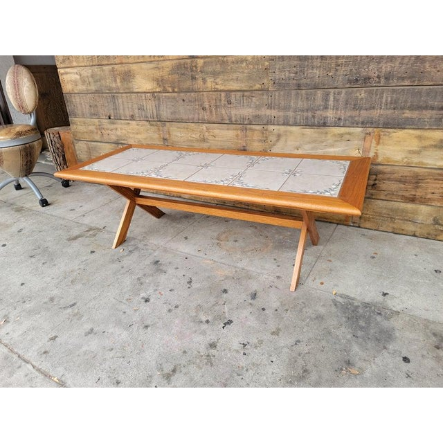 1980s Vintage Tile Top Coffee Table For Sale - Image 4 of 13