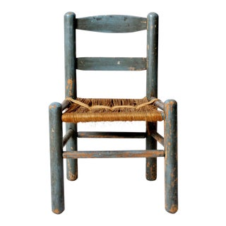Antique Rush Seat Children's Chair For Sale