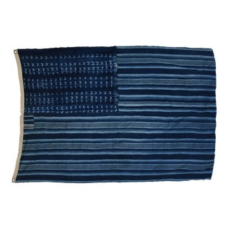 "Boho Chic Indigo Blue & White Flag From African Textiles 55"" X 38"" For Sale"
