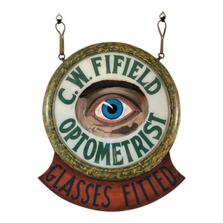 Antique Optometrist Reverse Painted Glass Trade Sign For Sale