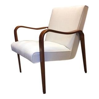 Knoll Thonet White Vinyl Aligator Skin Lounge Chair