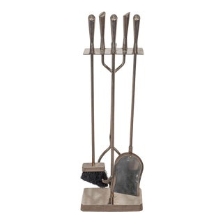 Mid-Century Fireplace Tools in Chrome - Set of 5 For Sale