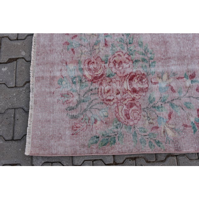 Pink Antique Handmade Faded Area Rug - 5′8″ × 8′7″ For Sale - Image 8 of 9