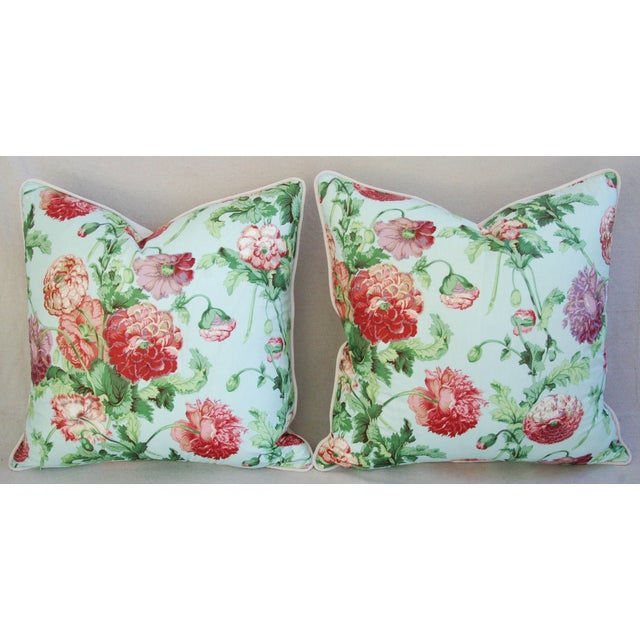 """Brunschwig & Fils Designer Brunschwig & Fils Poppies Feather/Down Pillows 22"""" Square - Pair For Sale - Image 4 of 10"""