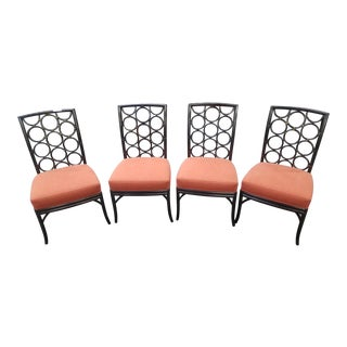 McGuire Laura Kirar Ebony Rattan Ringback Dining Chairs - Set of 4 For Sale