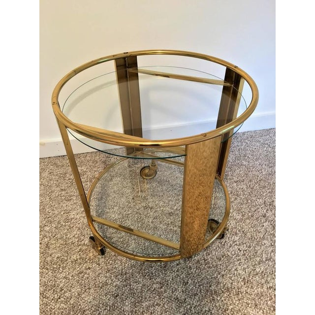 Italian Modernist Design Round Polished Brass Bar Cart - Image 5 of 9