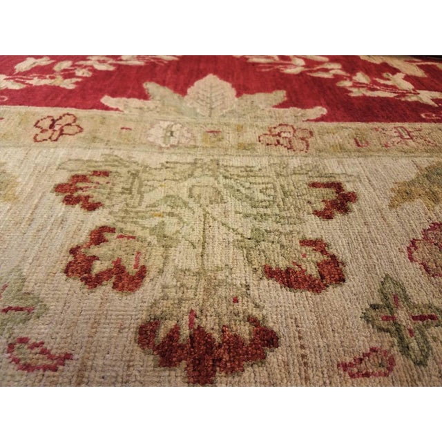 """Peshawar Jacquely Red & Tan Wool Rug - 10'2"""" x 14' For Sale - Image 4 of 7"""