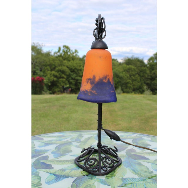 Art Deco 1920s French Art Deco Wrought Iron Double Lamp With Glass Shades For Sale - Image 3 of 12
