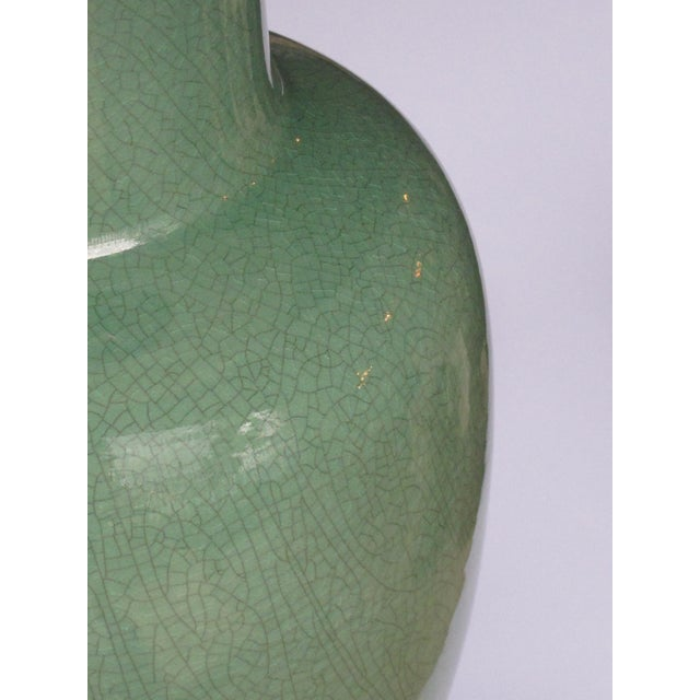 Asian Vintage Celadon Crackle-Glaze Lamps by Wildwood Lamp Co.-A Pair For Sale - Image 3 of 5