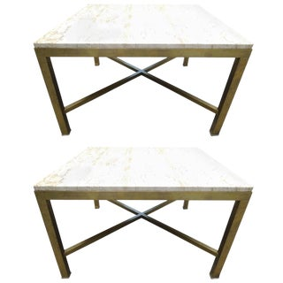 Pair of Travertine and Brass Side Tables For Sale