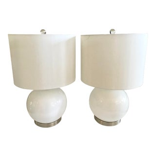White Modern Glass Lamps With Metal Bases - a Pair For Sale