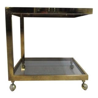 Mid-Century Cantilever Brass Floating Tea Cart For Sale