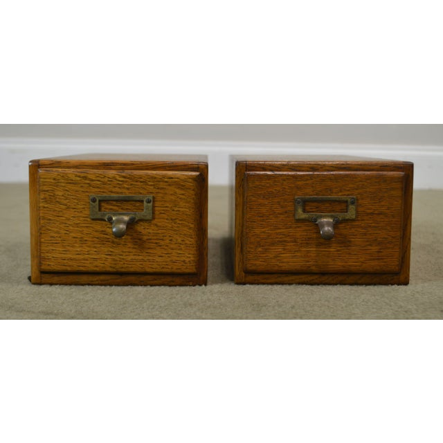 Traditional Antique Oak Pair of Desktop Library Card File Cabinets For Sale - Image 3 of 12