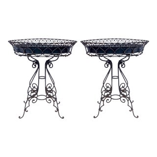 Early 20th-C French Black Scrolled Metal Jardinieres Planters or Plant Stand, Pair