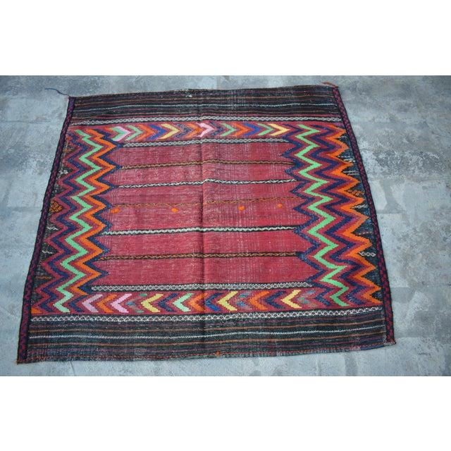 2000s Handwoven Tribal Sofreh Kilim Rug -3′11″ × 4′3″ For Sale - Image 5 of 5