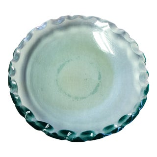 Large 1970s Scalloped Green Glass Bowl in the Manner of Pietro Chiesa for Fontana Arte For Sale
