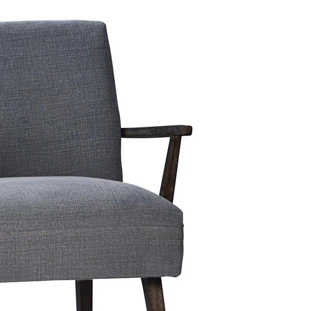 Mid-Century Style Dark Wood Arm Chair - Image 2 of 2