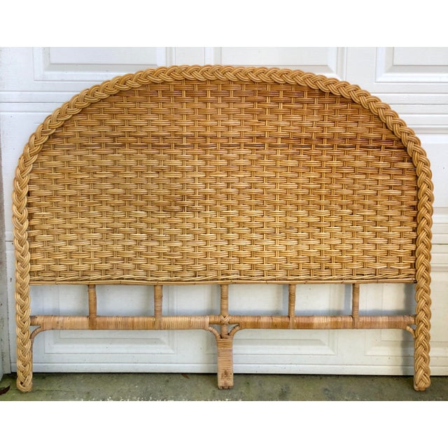 Bamboo 1960s Vintage Braided Woven Bamboo Wicker Rattan Queen Headboard For Sale - Image 7 of 7
