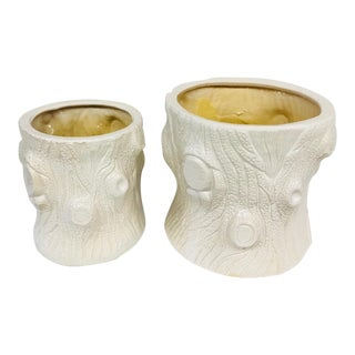 White Faux Bois Tree Trunk Planters - A Pair