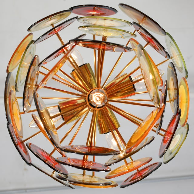 1960's VINTAGE VISTOSI MURANO GLASS DISC CHANDELIER For Sale In New York - Image 6 of 9