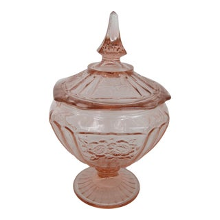Anchor Hocking Mayfair Open Rose Pink Depression Glass Candy Dish With Lid For Sale