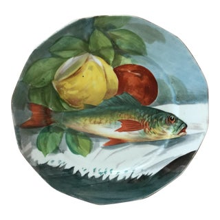 French Limoges Porcelain Fish Wall Plate For Sale