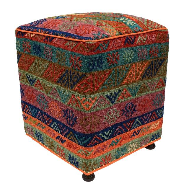 Boho Chic Hahn Orange/Green Handmade Soumakh Upholstered Ottoman For Sale