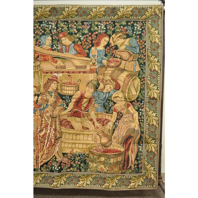 "70""x 62"" French Wall Hanging Tapestry Jacquard Mille-Fleures Medieval Winemakers For Sale - Image 4 of 10"