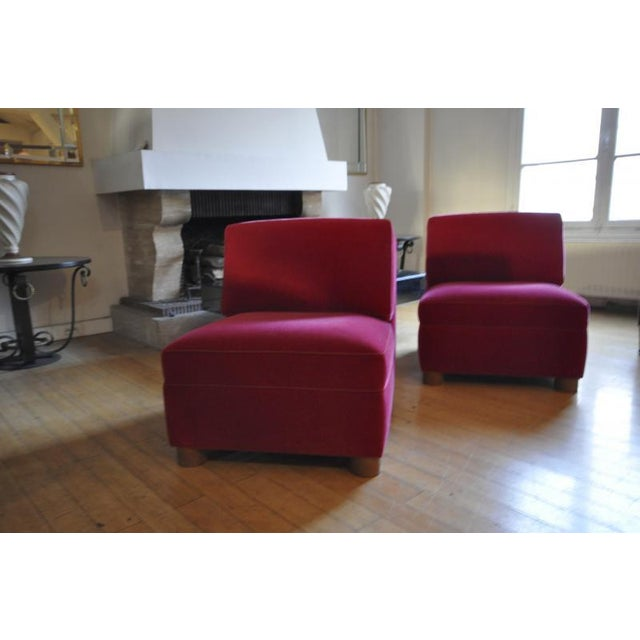 Jean Royere Pair of Slipper Chairs Covered in Red Mohair Velvet For Sale - Image 6 of 8
