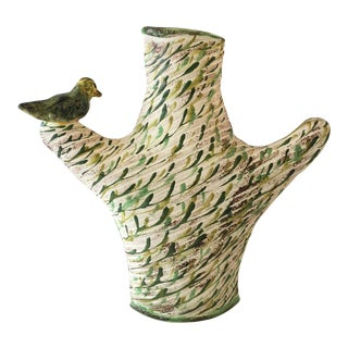 Mid-Century Pottery Cactus With Bird