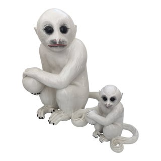 Mottahedeh Italian Ceramic Monkey Figurines - a Pair For Sale