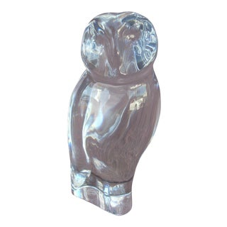 Baccarat Clear Crystal Owl Figurine For Sale