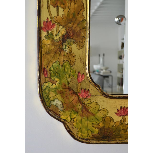 Gold Hollywood Regency Hand-Painted Giltwood Wall Mirror For Sale - Image 8 of 12