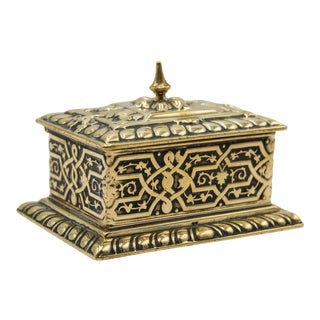 Antique English Brass Stamp Box For Sale