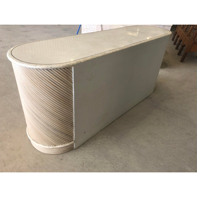 1980's Stone and Pencil Reed Credenza For Sale - Image 4 of 9