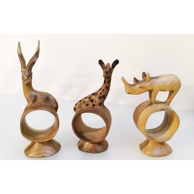 Holiday Sale!! Vintage African Handcarved Wooden Animal Napkin Rings - Set of 9 For Sale - Image 4 of 7