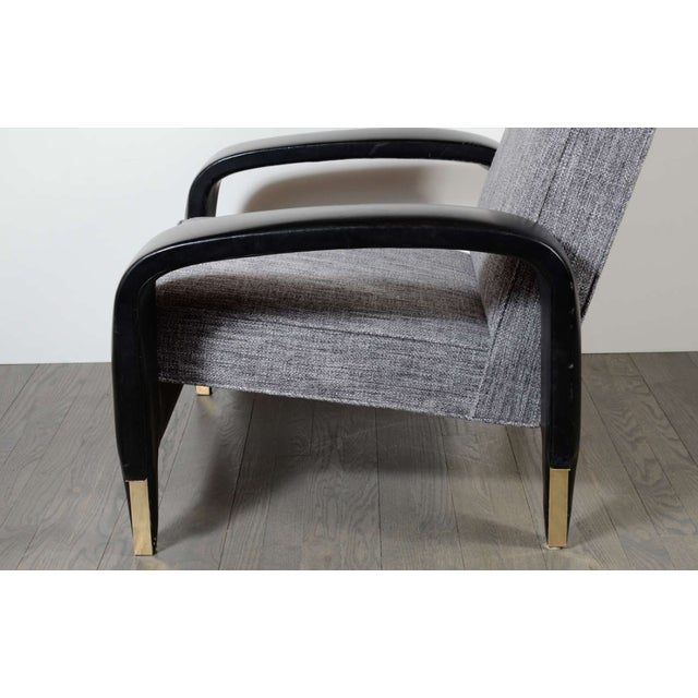 Italian Art Deco Gray Upholstered Club Chair For Sale In New York - Image 6 of 7