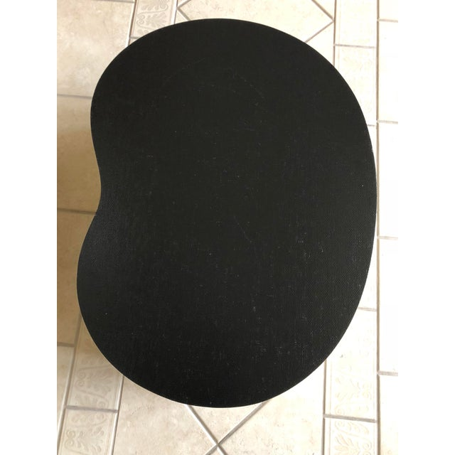 1970s 1970s Art Deco Karl Springer Kidney Black Grasscloth and Brass Coffee Table For Sale - Image 5 of 9