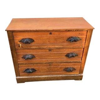 Victorian Oak Dresser With Carved Walnut Pulls For Sale