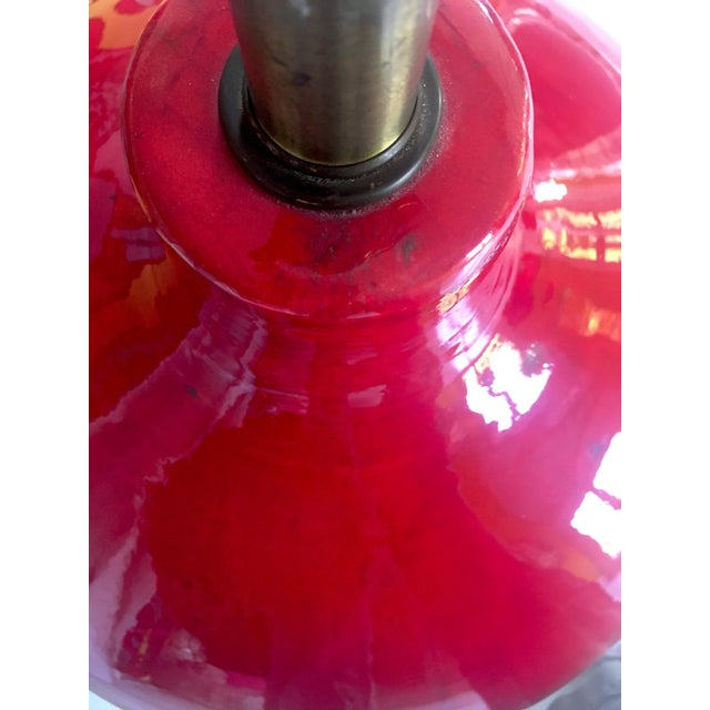 Mid-Century Modern Mid-Century Red Glazed Ceramic Lamp For Sale - Image 3 of 9