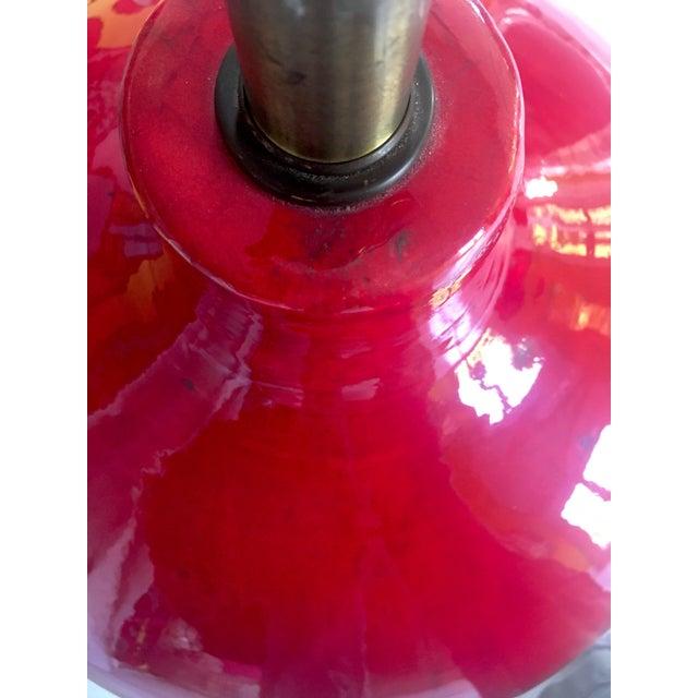 Mid-Century Red Glazed Ceramic Lamp - Image 3 of 9
