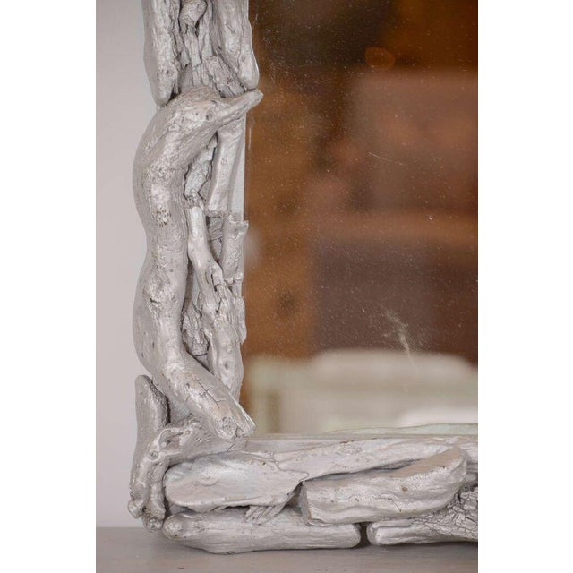 Contemporary Vintage Silver Leafed Driftwood Frame Mirror For Sale - Image 3 of 7