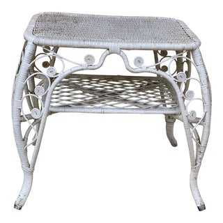 Vintage White Wicker Accent Coffee Table For Sale