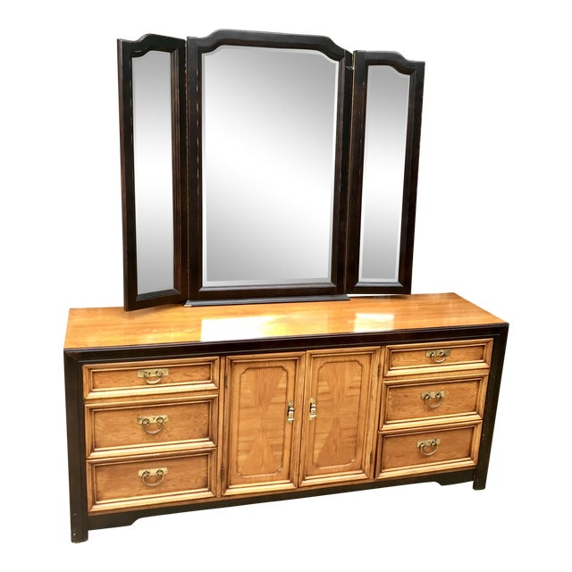 1970's Asian Nine Drawer Dresser With Tri-Fold Mirror For Sale