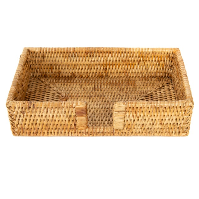 Artifacts Rattan Guest Towel/Napkin Holder With Cutout - Honey Brown For Sale In Houston - Image 6 of 6