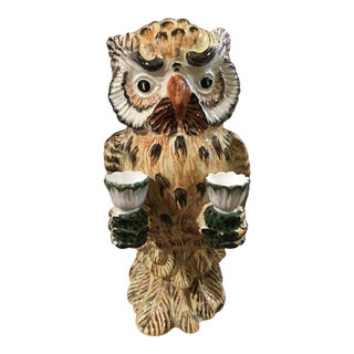 Erma Italian Pottery Owl Candlestick Holder For Sale