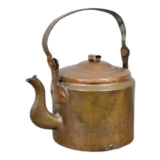 Antique French Handmade Copper Teapot For Sale