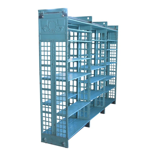 Early 20th Century Antique Cast Iron Archival Library Bookcase by Snead For Sale
