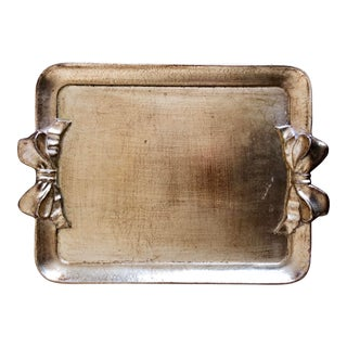 Vintage Florentine Ribbon Bow Handle Tray For Sale