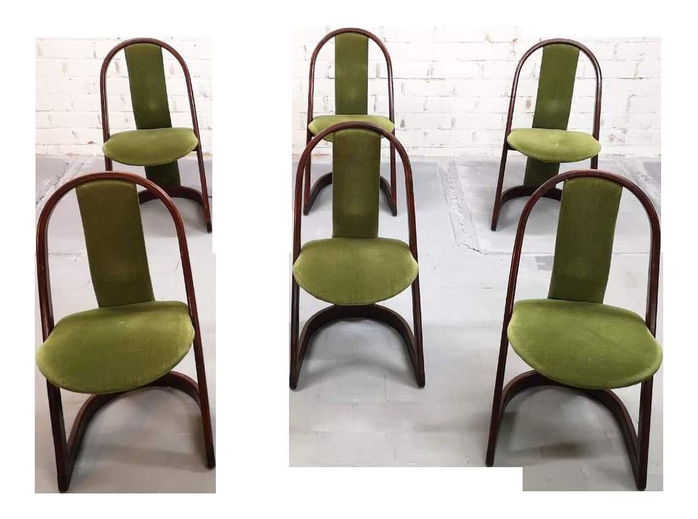 Set Of 6 Italian Mid Century Modern Vintage Green Velvet Designer Dining  Chairs For Sale